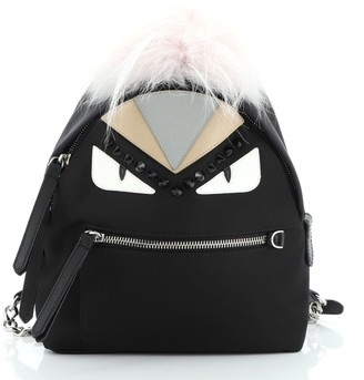 Fendi Monster Backpack Nylon with Leather and Fur Mini