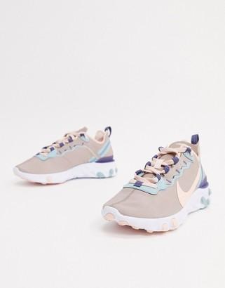 Nike Gray React Element 55 Sneakers