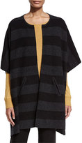 Eileen Fisher Reversible Felted Striped Wool Poncho, Charcoal/Black, Petite