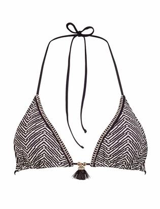 Watercult Women's Afro Gem Triangle Bikini Top Black EU 38 / S