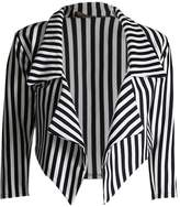 Lush Lane Womens 3⁄4 Sleeves Stripes Print Waterfall Crop Blazer