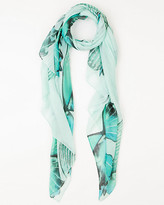 Le Château Butterfly Print Voile Scarf