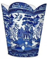 "The Well Appointed House Blue Willow Decoupage 12"" Fluted Wastebasket with Tissue Box"
