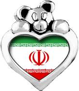 GiftJewelryShop Iran,Islamic Republic OF flag Red Siam Crystal January Birthstone I Love You Heart Care Bear Charm