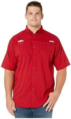 Columbia College Big Tall Arkansas Razorbacks Tide Collegiate Tamiamitm II Short Sleeve Shirt (Red Velvet) Men's Short Sleeve Button Up