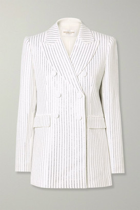 Michael Kors Double-breasted Crystal-embellished Crepe Blazer - White