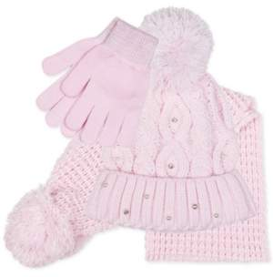 Fab Big Girls 3-Pc. Cable Knit Hat, Scarf & Gloves Set