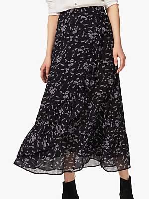 Brora Silk Ruffle Skirt, Midnight & Lead