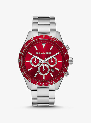 Michael Kors Oversized Layton Silver-Tone Watch - Red