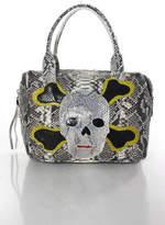 Carlos Falchi Original Collectors Piece Gray Snakeskin Mini Rosh Satchel Handbag