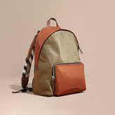Burberry Leather and House Check Trim Technical Backpack