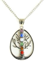 "Simplicity Tree of Life Chakra Natural Stone Pendant Necklace,18"" Chain"