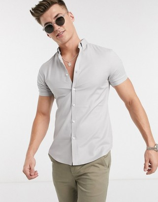 New Look short sleeve muscle fit oxford shirt in grey