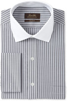 Tasso Elba Men's Classic/Regular Fit Non-Iron Charcoal Twill Bar Stripe Contrast Collar French Cuff Dress Shirt, Only at Macy's