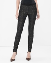 White House Black Market Ponte-Jacquard Mixed Skinny Pants