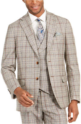 Tallia Men Slim-Fit Brown Plaid Flannel Suit Jacket