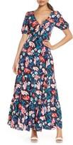 Eliza J Floral Print Tie Front Maxi Dress