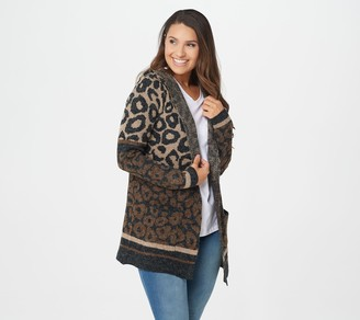 Denim & Co. Animal Print Hooded Long-Sleeve Cardigan