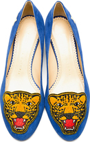 Charlotte Olympia Blue Suede Mascot Heeled Loafers