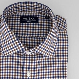 Tie Bar Multi Tone Gingham Navy Non-Iron Dress Shirt