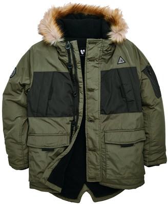 Very Boys Colour Block Faux Fur Hooded Coat - Khaki
