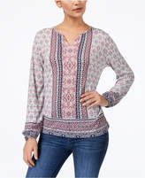 Style&Co. Style & Co Mixed-Print Split-Neck Top, Created for Macy's