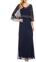 J Kara Petite Beaded V-Neck Popover Gown