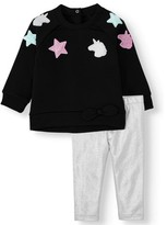 Wonder Nation Baby Girl Fleece Top and Leggings, 2pc Outfit Set