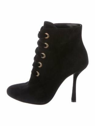 Lanvin Suede Lace-Up Boots Black