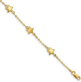 14K Yellow Gold Brushed and Polished Stars Bracelet by Versil