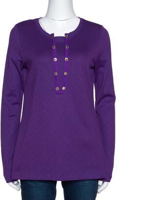 Carolina Herrera Purple Logo Patterned Cotton Long Sleeve Top L