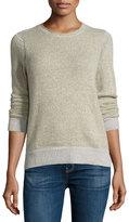 Christopher Fischer Cashmere Stitch-Inset Sweater Top, Hazel/Ash