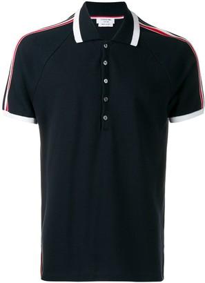 Thom Browne 4-Bar Stripe Navy Long Sleeve Polo