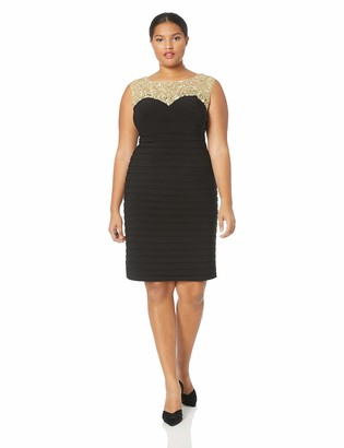Alex Evenings Women's Plus Size Short Sheath Sweetheart Neckline Sleeveless Dress