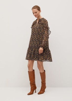 MANGO Ruffled floral print dress brown - 4 - Women