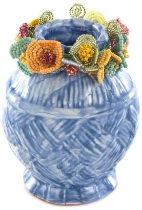 Mackenzie Childs Delphinium Cake & Flowers Ball Vase