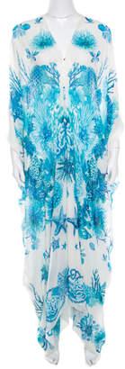 Roberto Cavalli White and Blue Underwater Printed Silk Slit Sleeve Detail Maxi Dress S