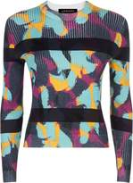Jaeger Swirl Print Stripe Sweater