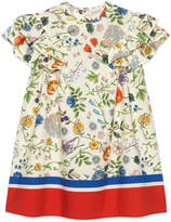 Gucci Flora Festival Printed Short-Sleeve Poplin Dress, Size 4-12