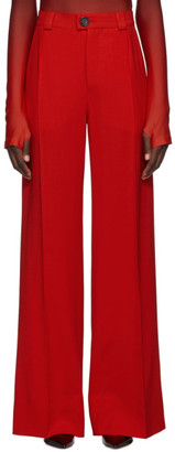 Kwaidan Editions Red Fluid Wool Wide-Leg Trousers