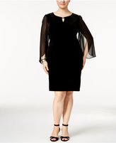Connected Plus Size Velvet Illusion Angel-Sleeve Dress