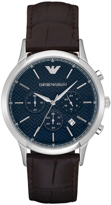 Emporio Armani Renato Stainless Steel Croc-Embossed Leather-Strap Chronograph Watch