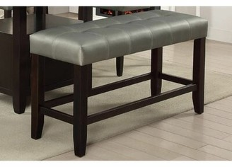Caracara Faux Leather Bench Red Barrel Studio Upholstery: Silver