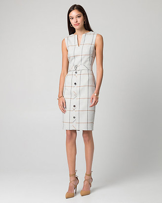 Le Château Grid Check Print Viscose Blend Shift Dress