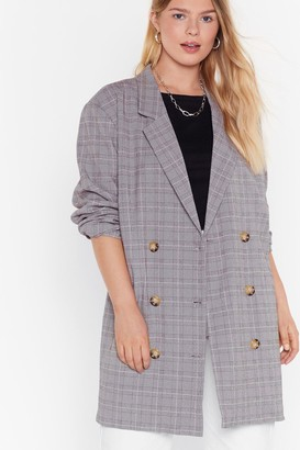 Nasty Gal Womens Well Check You Out Plus Longline Blazer - grey - 16
