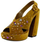Prada Crisscross Suede Embellished Platform Sandal