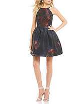 Xtraordinary Metallic Floral Print Fit-And-Flare Dress