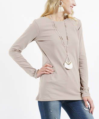 Ash Lydiane Women's Tee Shirts  Mocha Crewneck Long-Sleeve Tee - Women