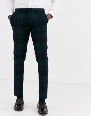 Twisted Tailor Ashby super skinny fit suit pants in block green check