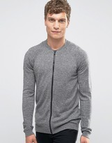 Asos Knitted Bomber in Gray